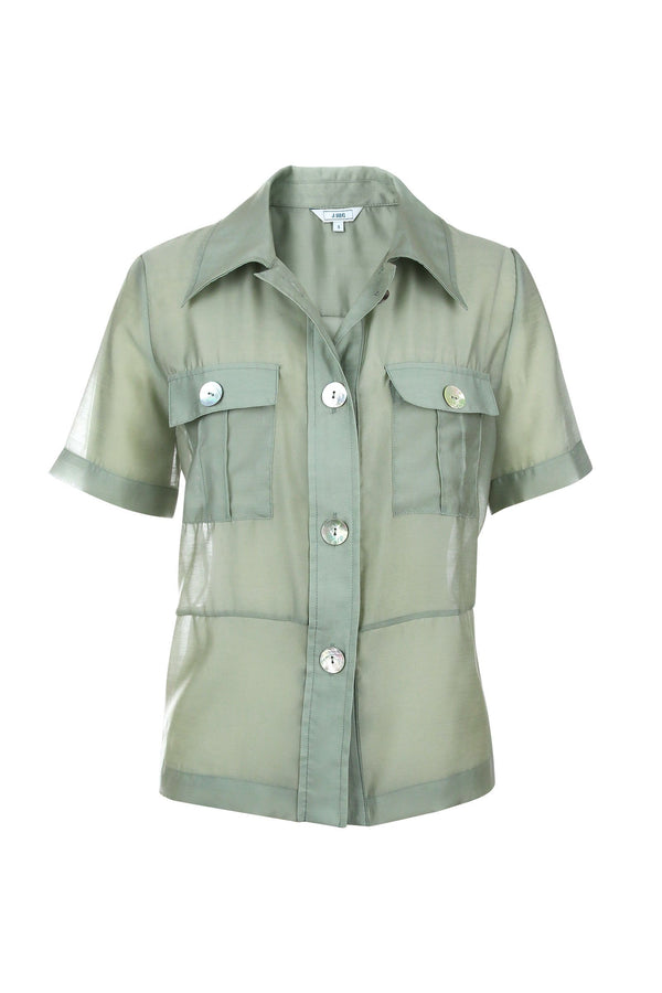 Sage Pearl Sheer Green Shirt