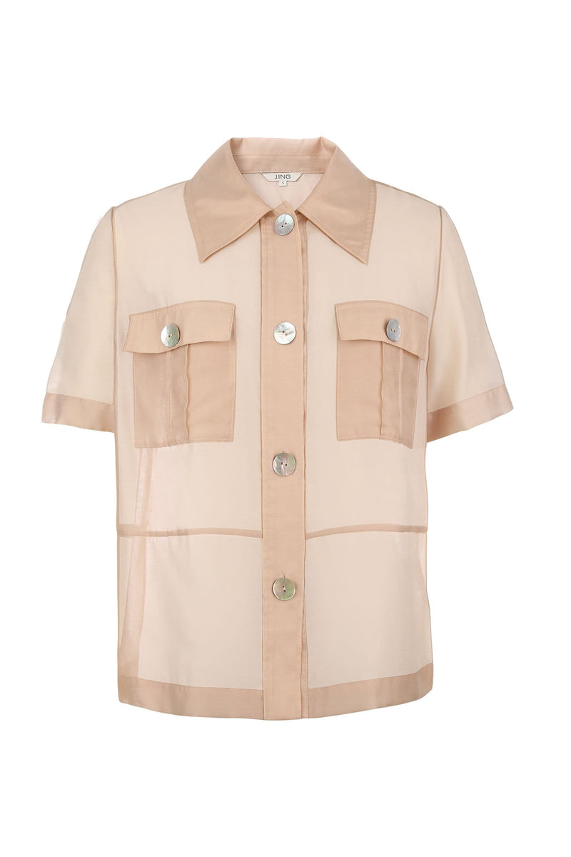 Tan Pearl Sheer Shirt