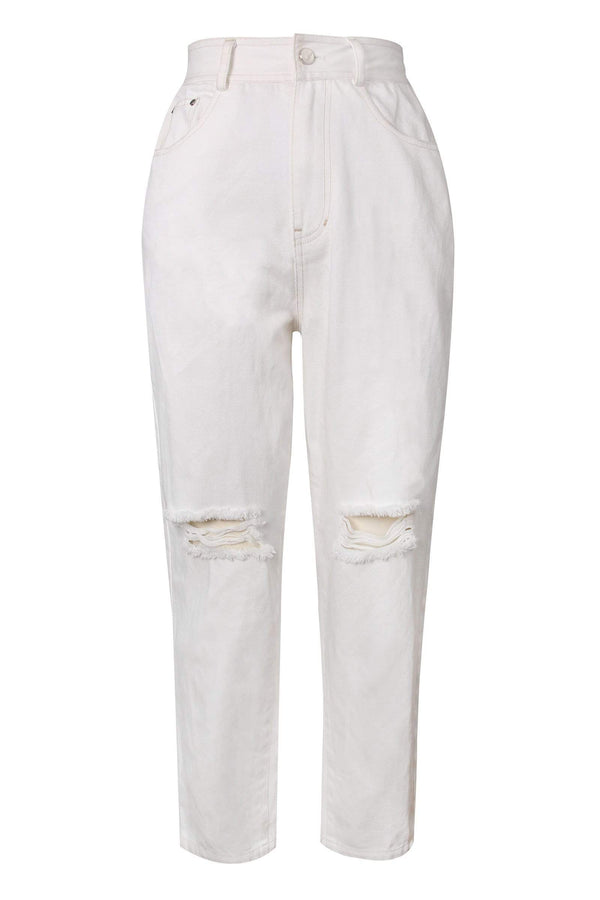 Cassius White Ripped Boyfriend Jeans