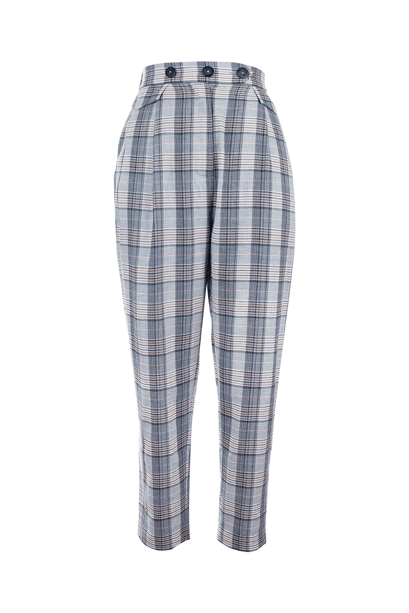 Ally Grey Checkered Chinos