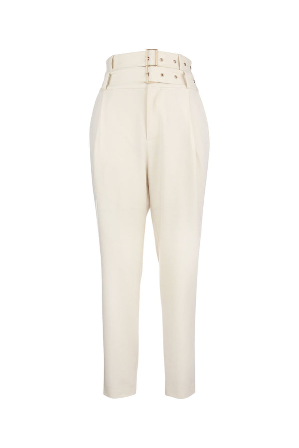 DaniLeigh White Double Belted Trousers