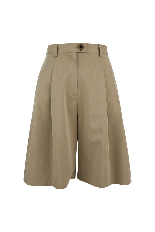 Onika Tan Wide Leg Bermuda Shorts