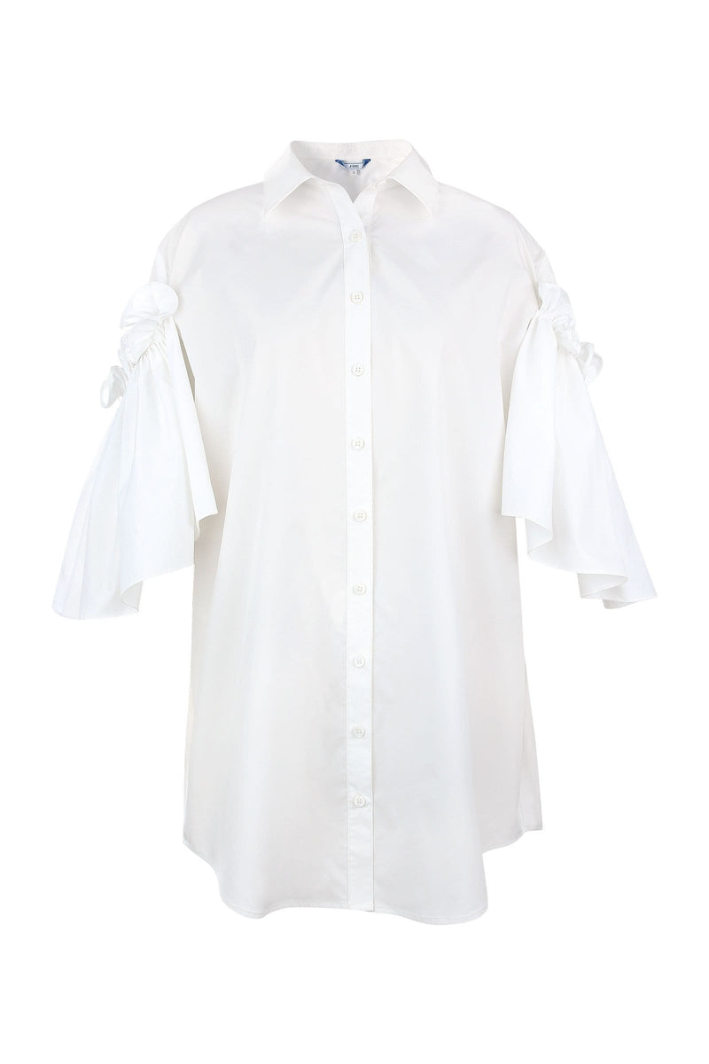 Odette White Cape Sleeve Shirt Dress