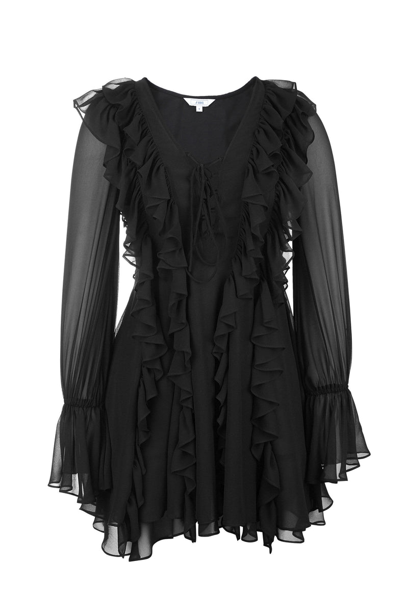 Frida Black Ruffled Dress