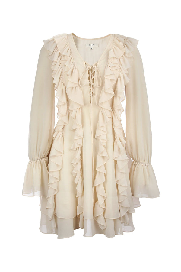 Frida Cream Ruffled Dress
