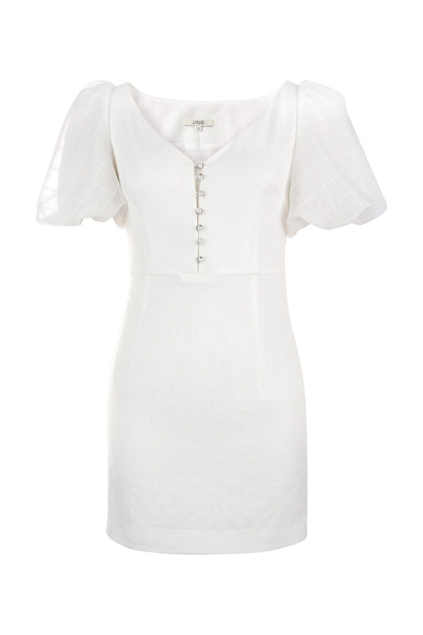 Mona White Puff Sleeve Dress