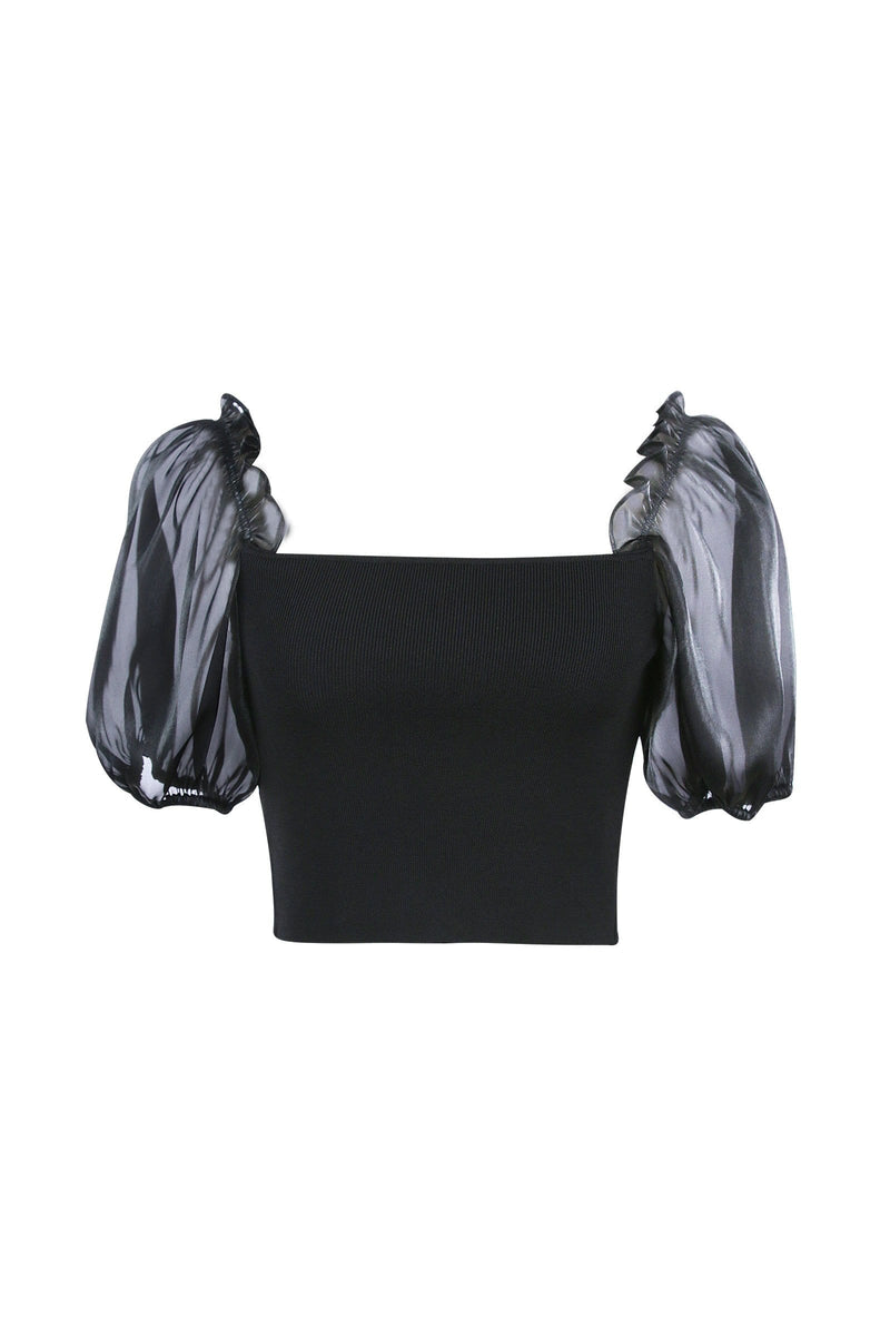 Simone Black Puff Sleeve Top