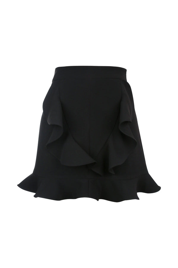 Britney Black Ruffled Mini Skirt