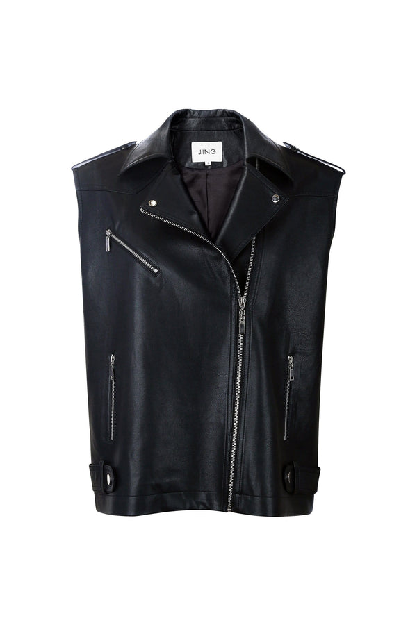 Frankie Black Leather Vest