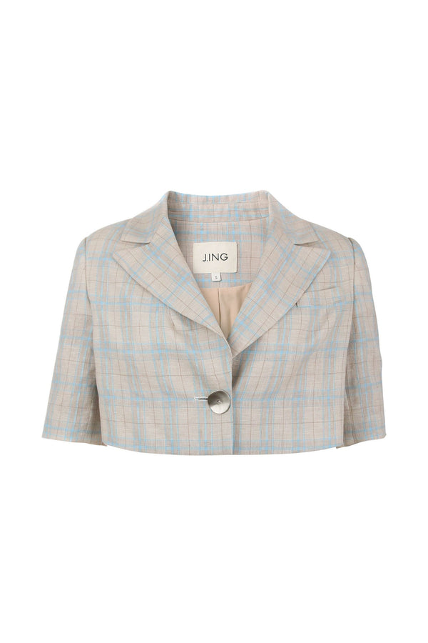 Gertrude Plaid Cropped Blazer