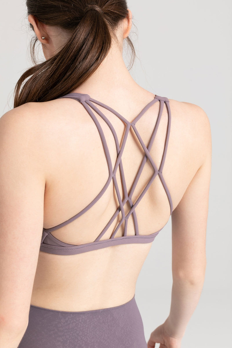 Powdered Violet Diamond Back Bra Top