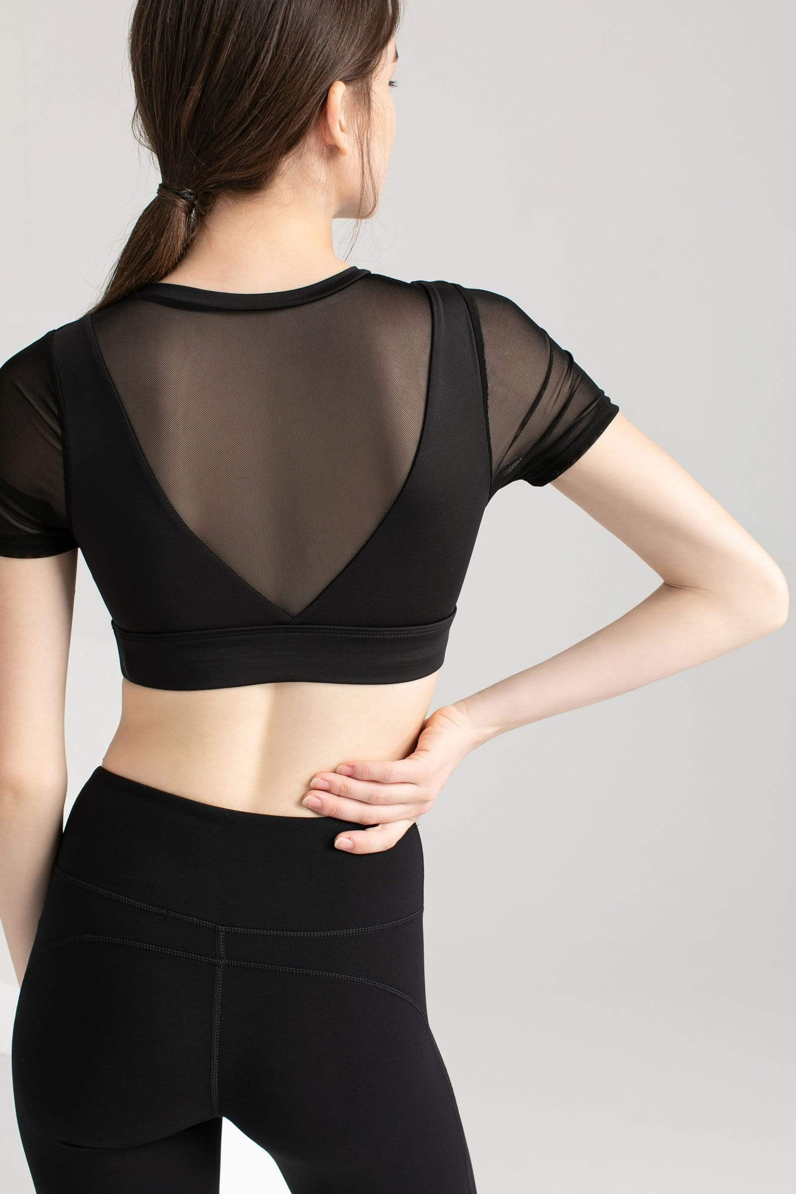 Carbon Black Mesh Crop Tee