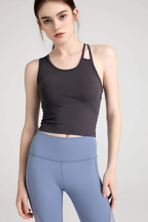 Charcoal Grey Asymmetrical Bra Top