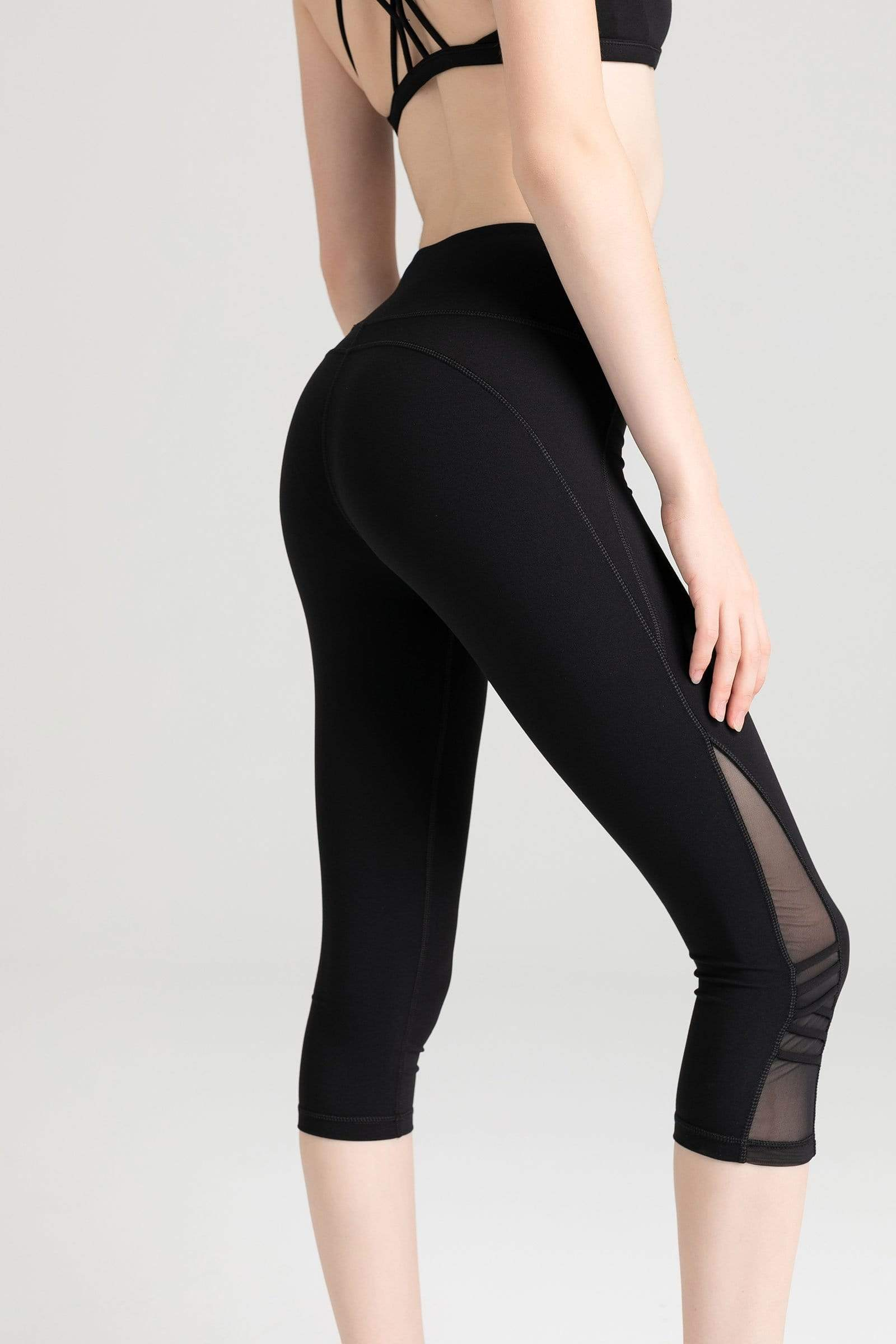 Carbon Black Mesh Crop Leggings