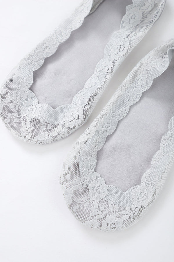 Grey Lace No-Show Socks
