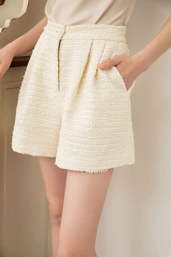 Eden Ivory Tweed Shorts