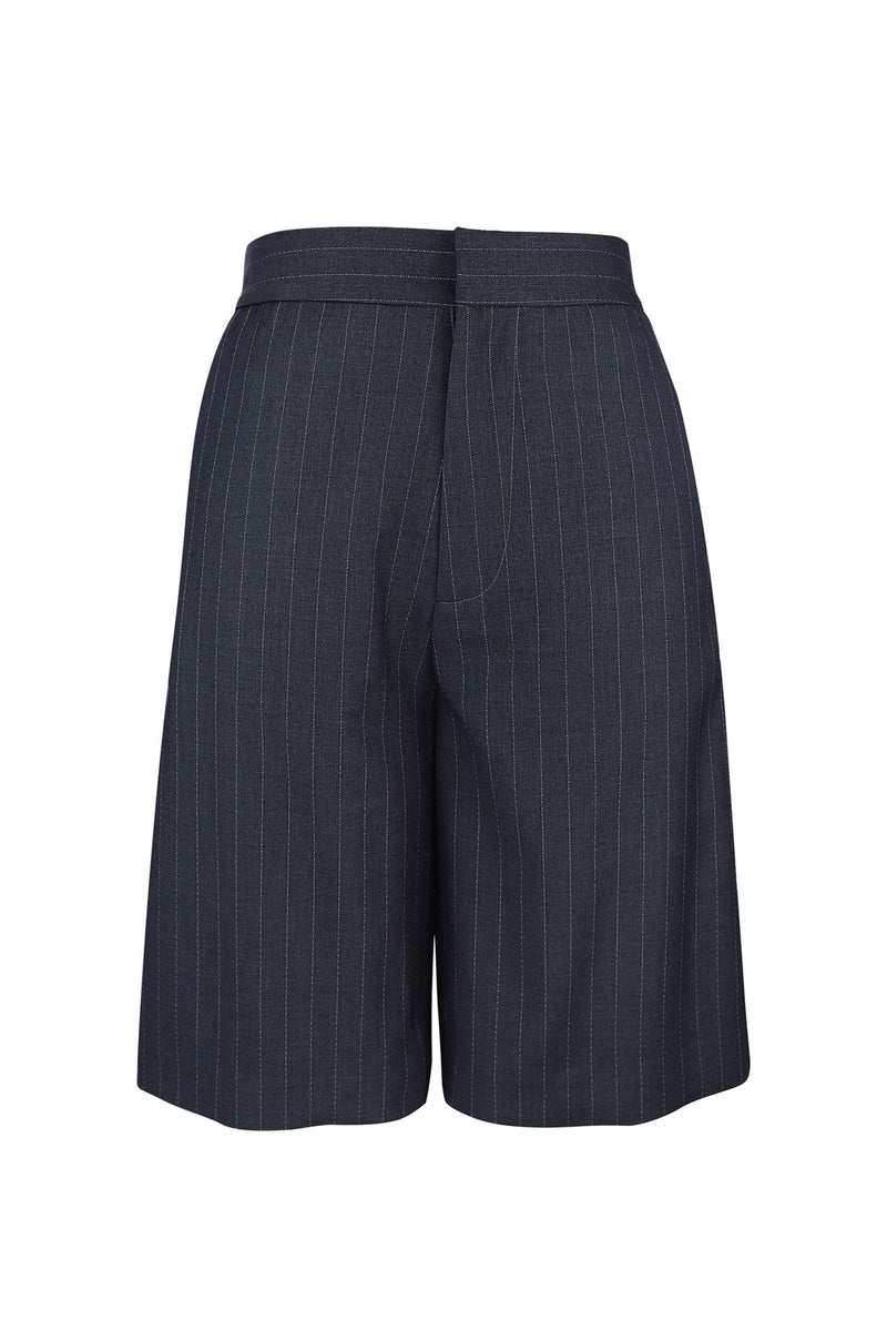 Buckingham Charcoal Pinstriped Bermuda Shorts