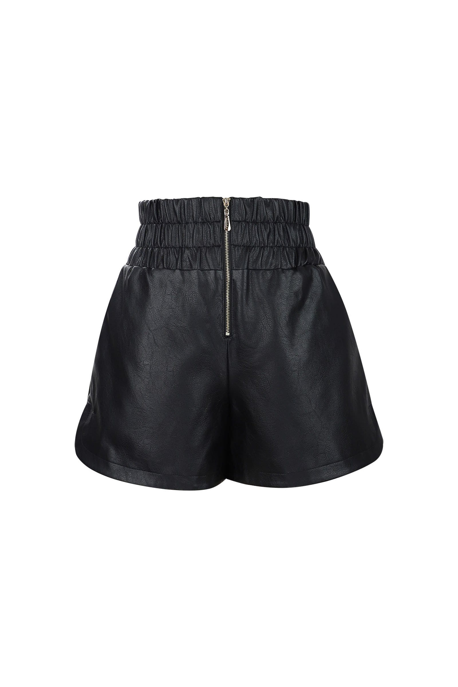 Glossy Black Leather Shorts