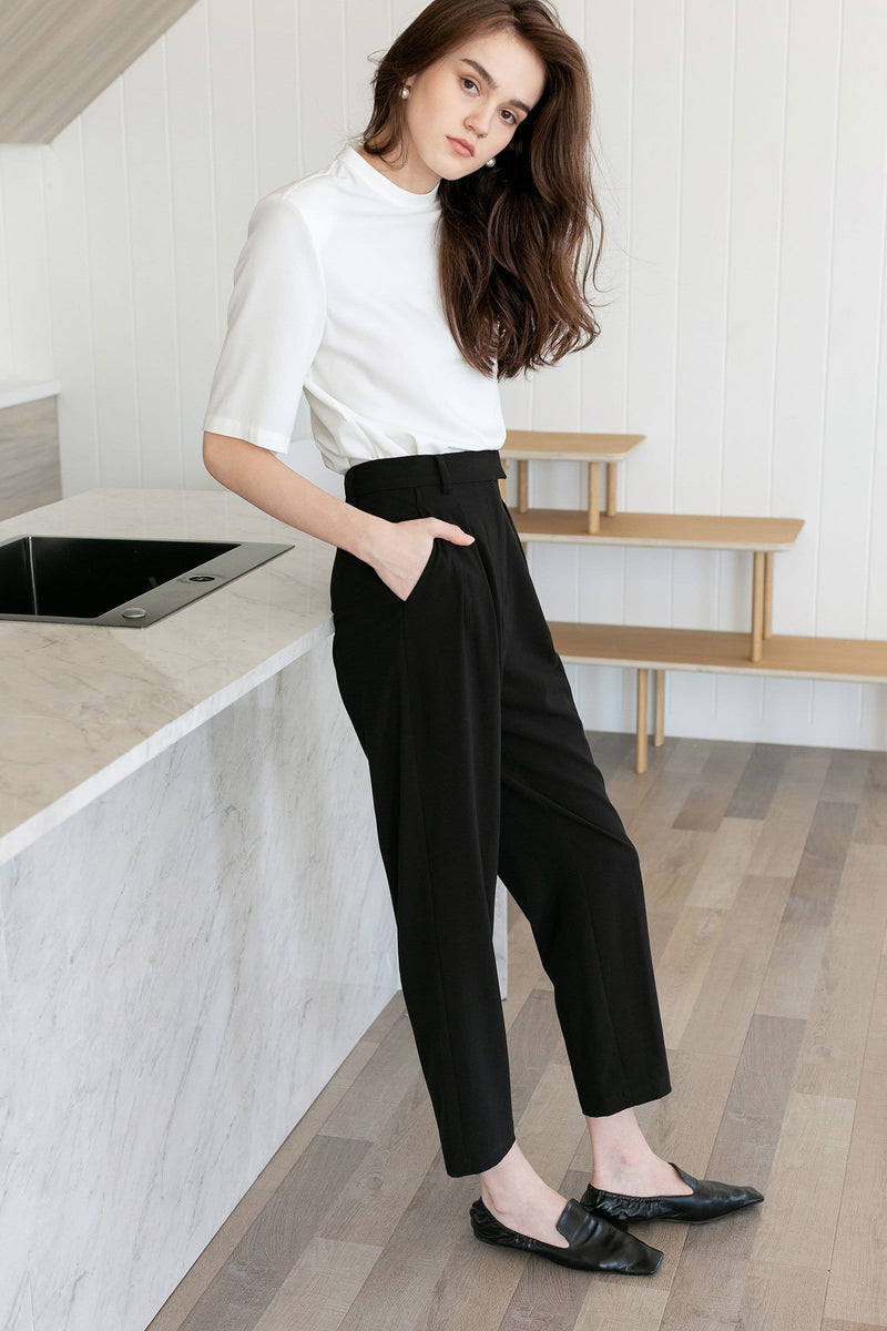 Everly Black Cuffed Trousers