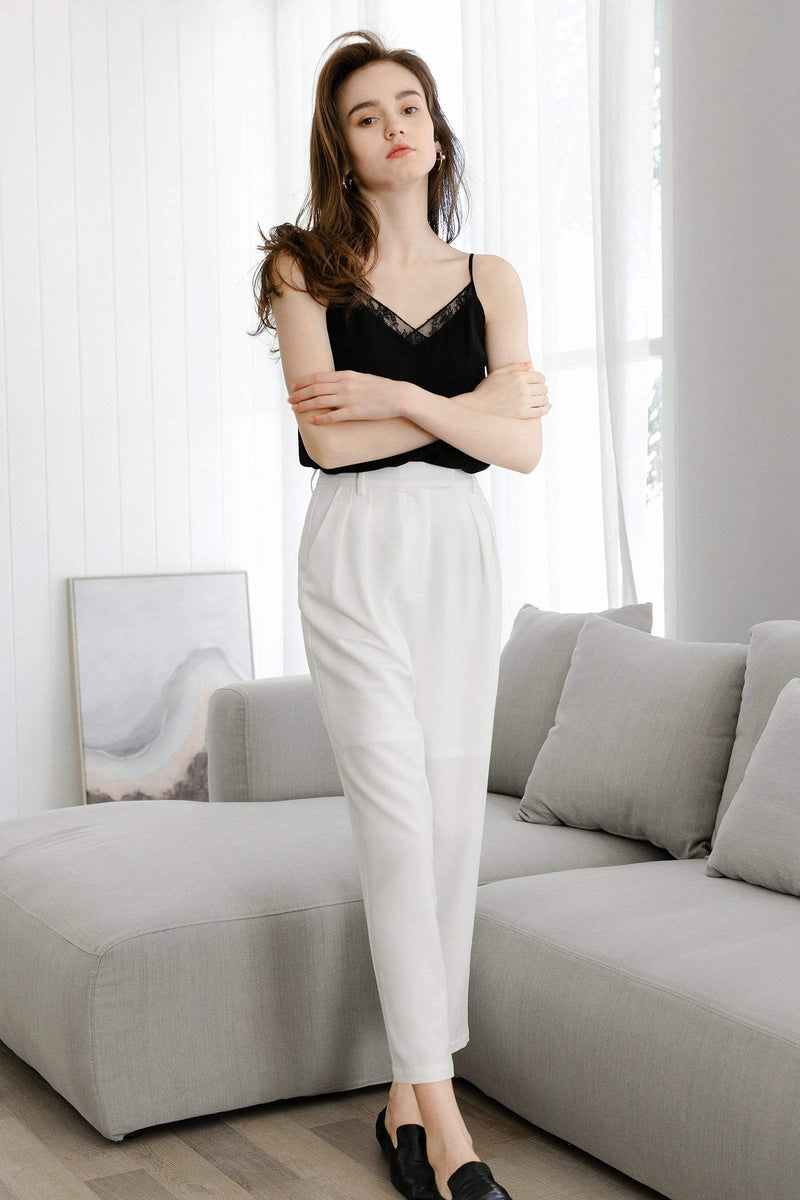Everly White Cuffed Trousers