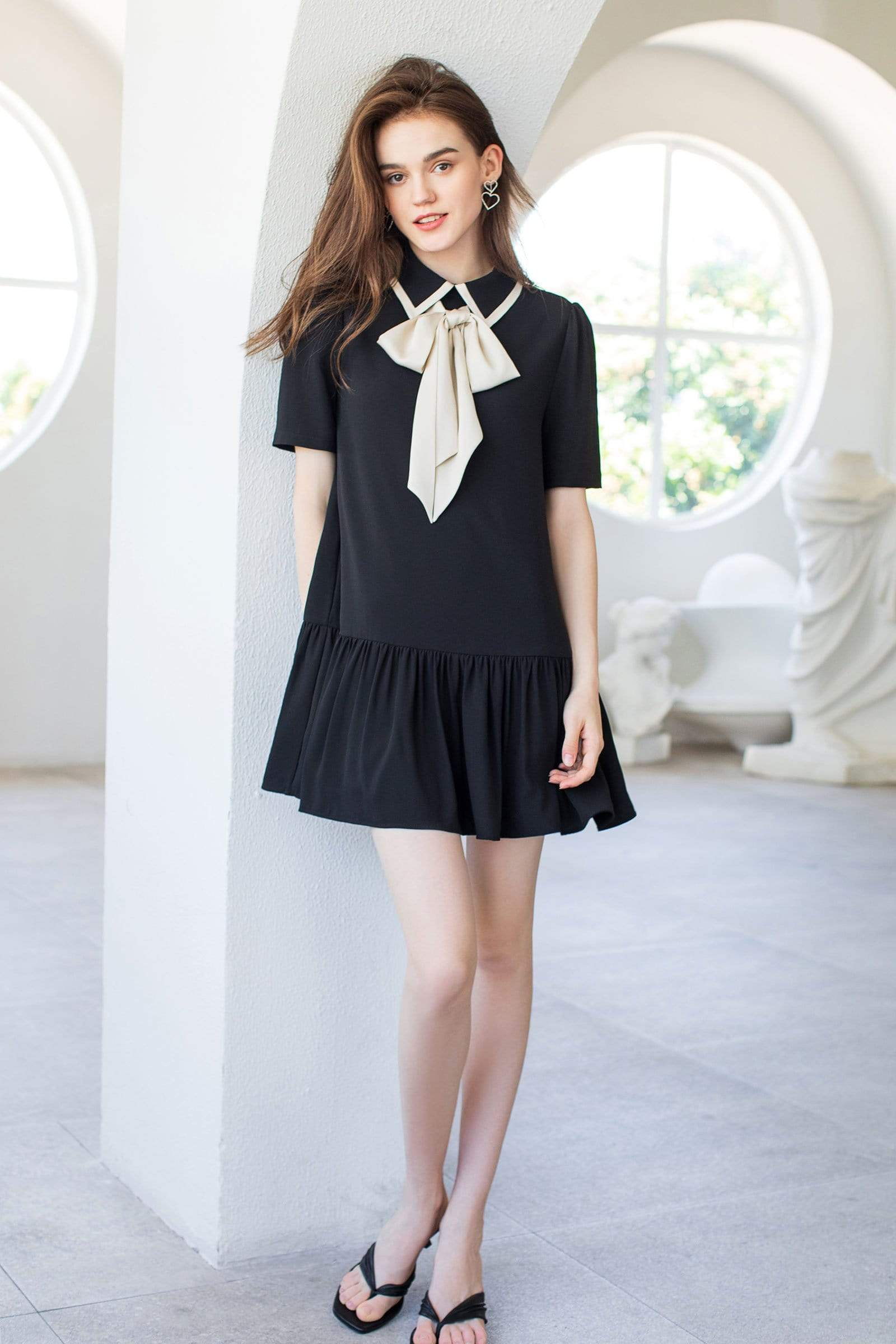 Wednesday Black Bow Dress