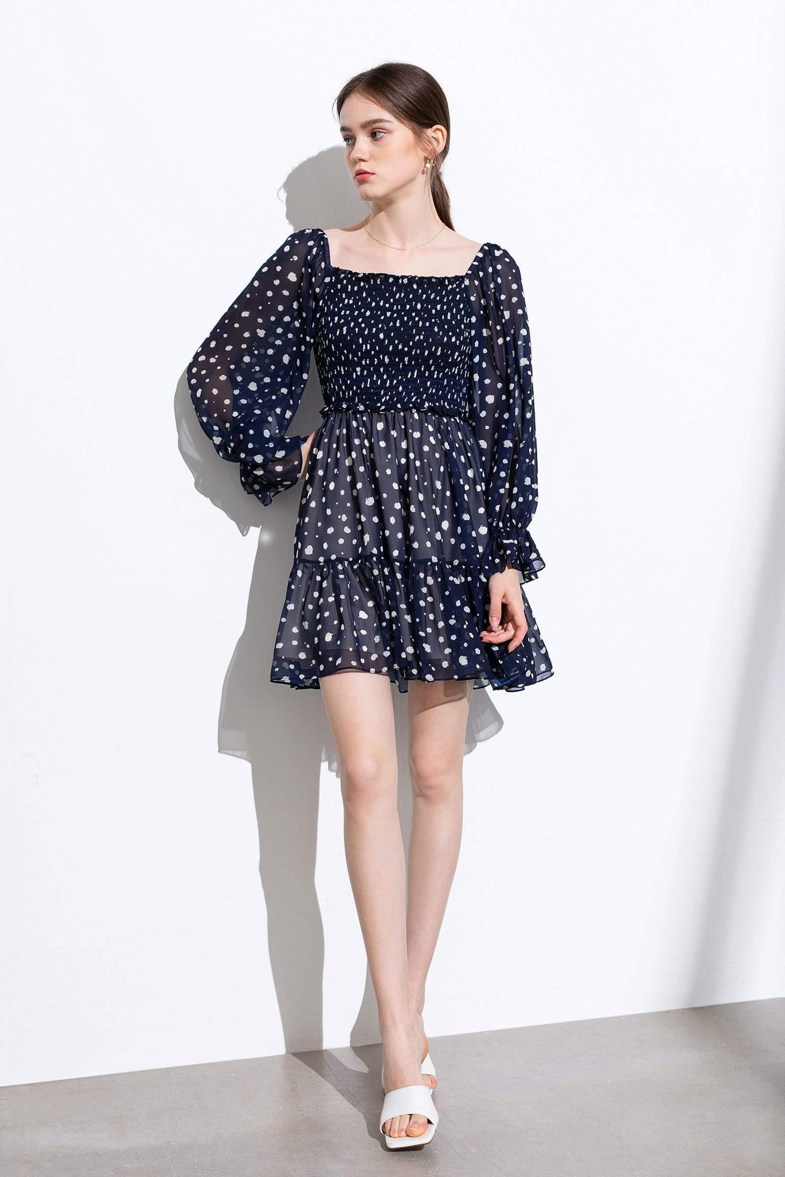 Marquita Navy Dotted Dress