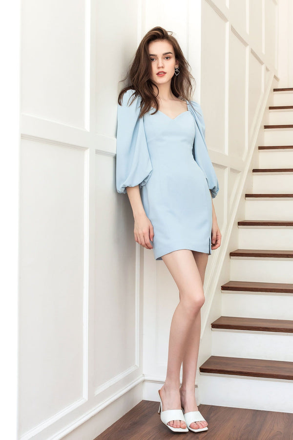 Enchanted Blue Puff Sleeve Dress