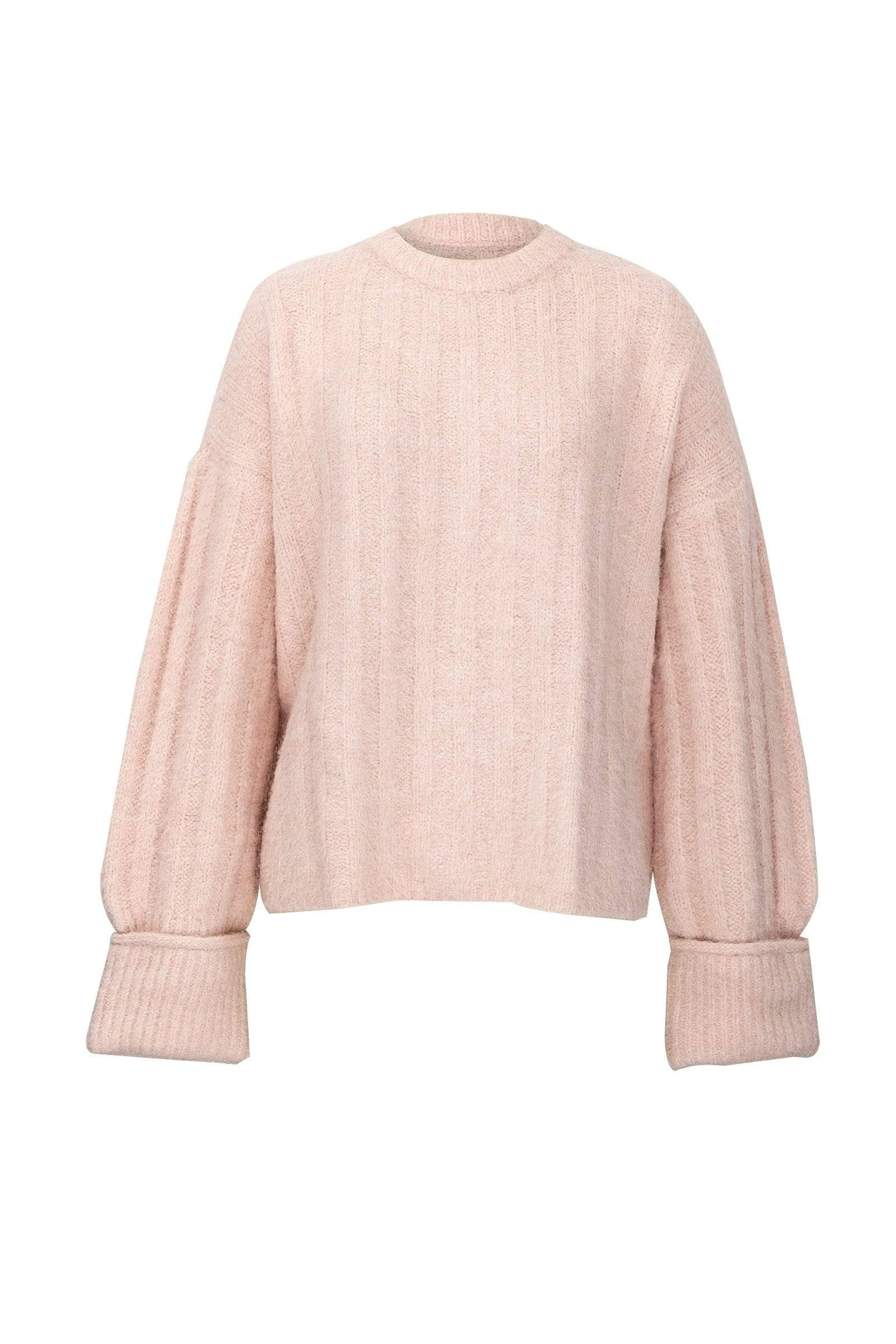 Cozy Light Pink Ribbed Sweater