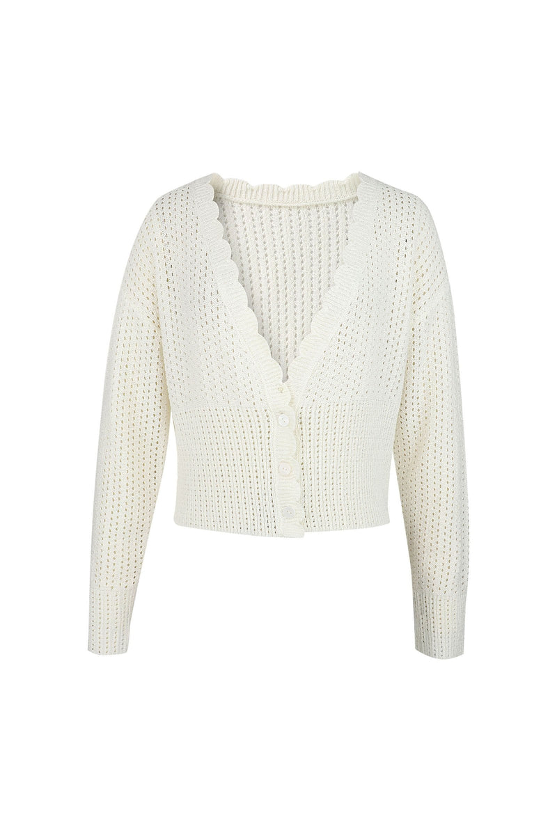Vanessa White Scalloped Cardigan