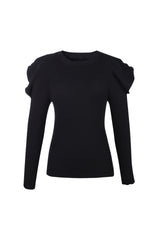 Priscilla Black Puff Sleeve Sweater