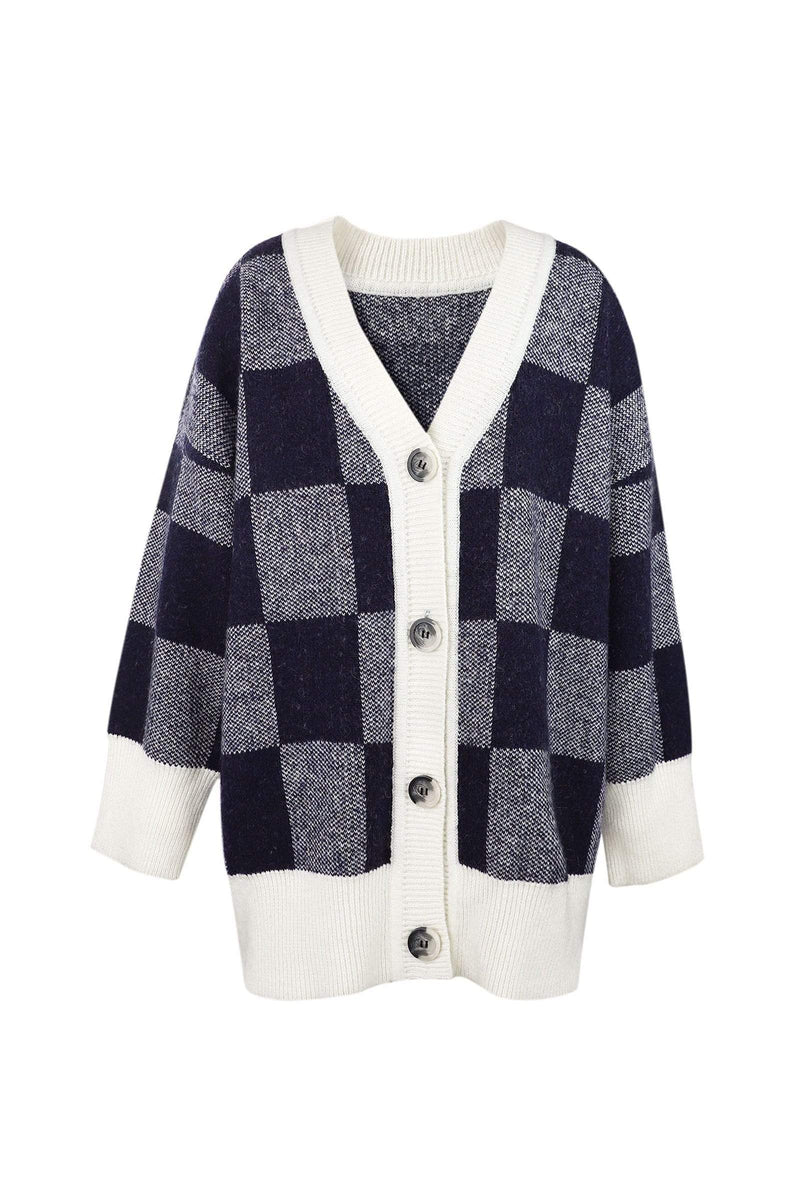 Mollie Blue Checkerboard Cardigan