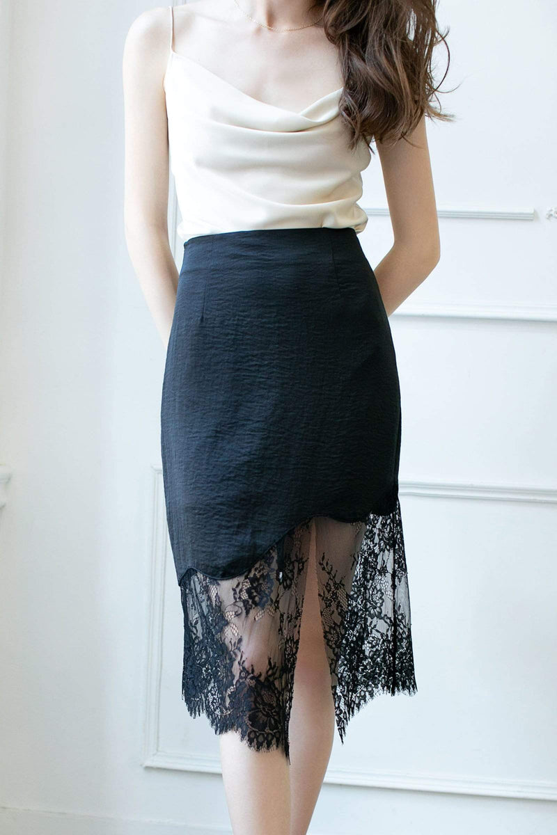 Aurora Black Lace Slip Skirt