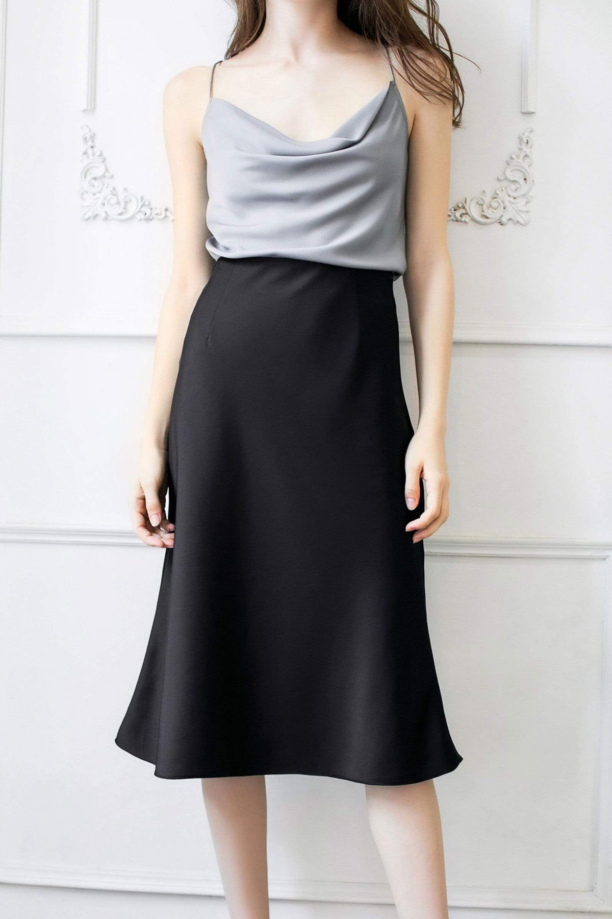 Desiree Black Slip Skirt