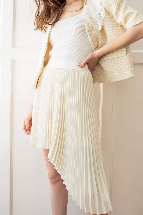 White Asymmetrical Pleated Skirt