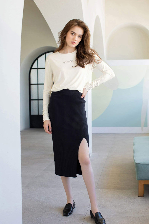 Essential Black Slit Midi Skirt