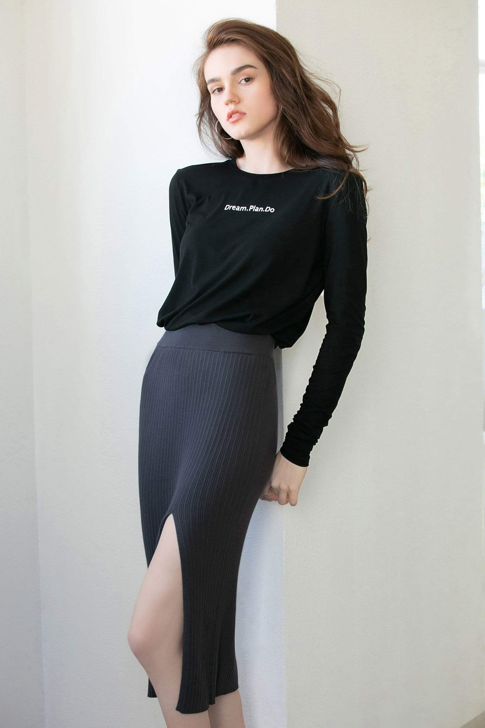 Essential Charcoal Slit Midi Skirt