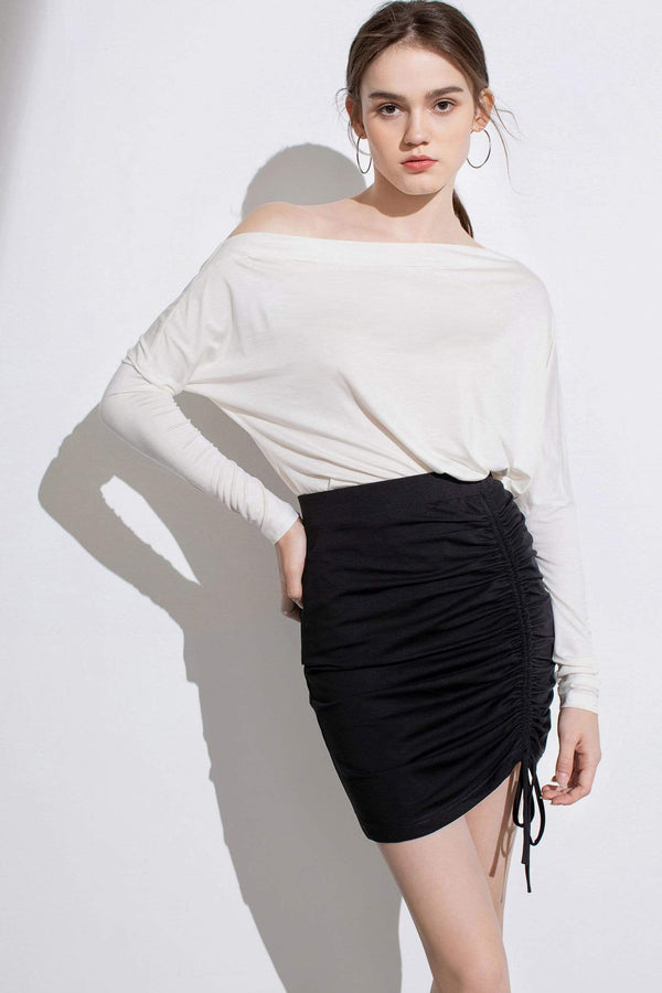 Essential Black Ruched Mini Skirt