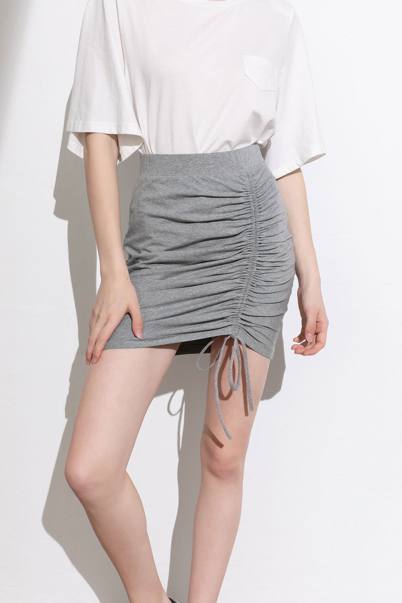 Essential Grey Ruched Mini Skirt