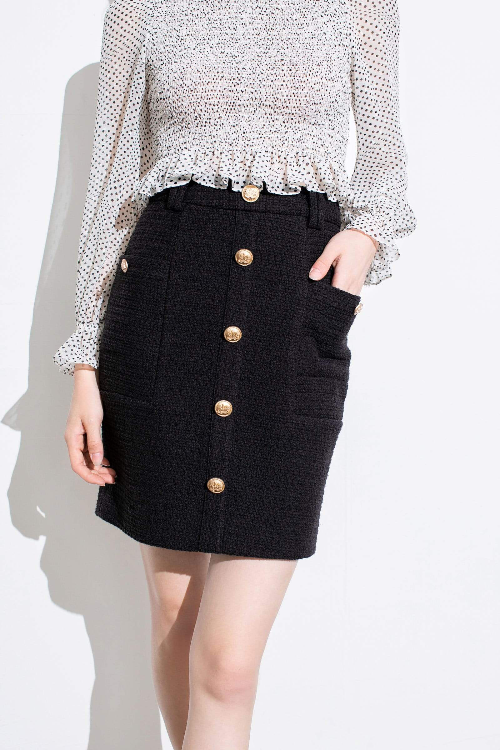 Sylvia Black Tweed Skirt