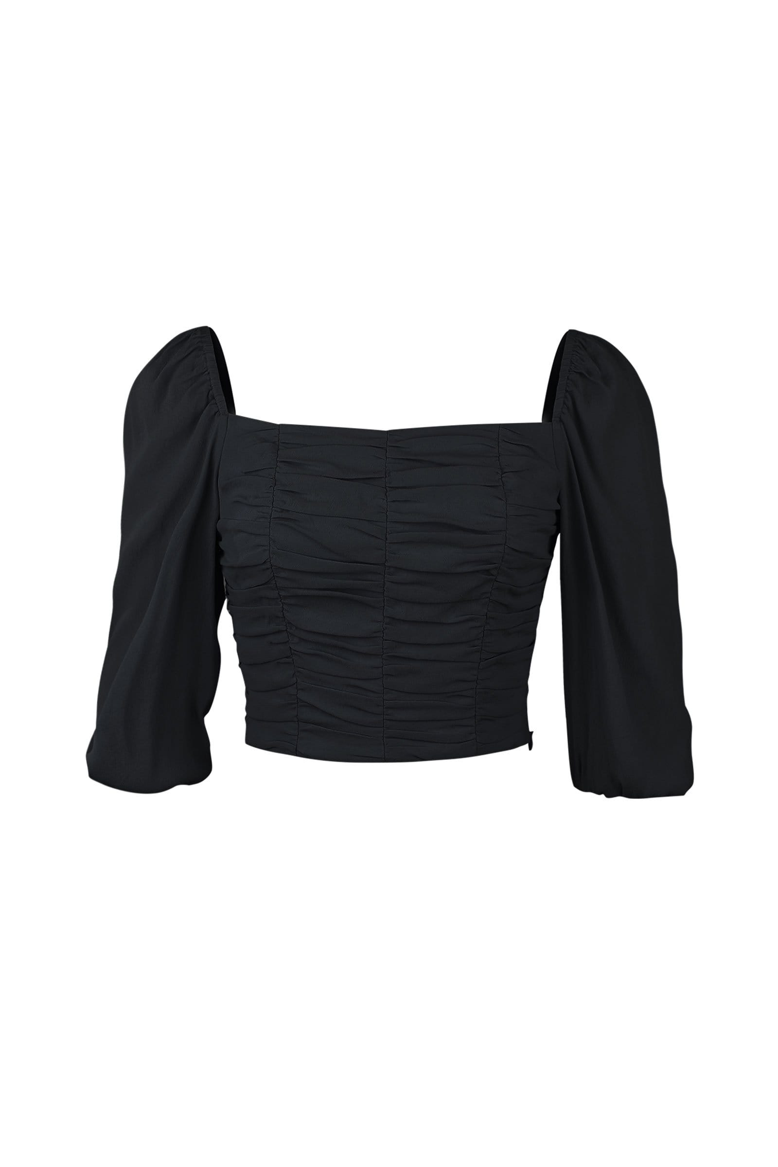 Elena Black Square Neck Top