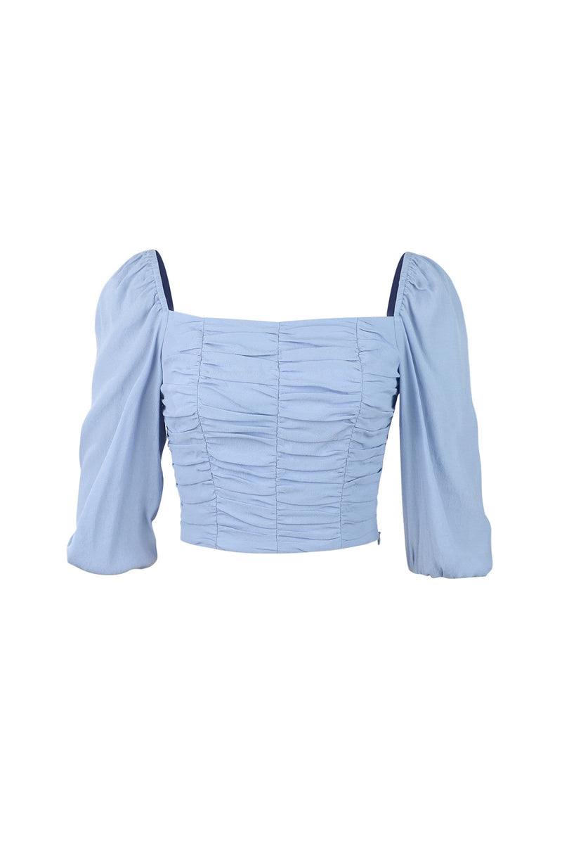 Elena Cornflower Square Neck Top