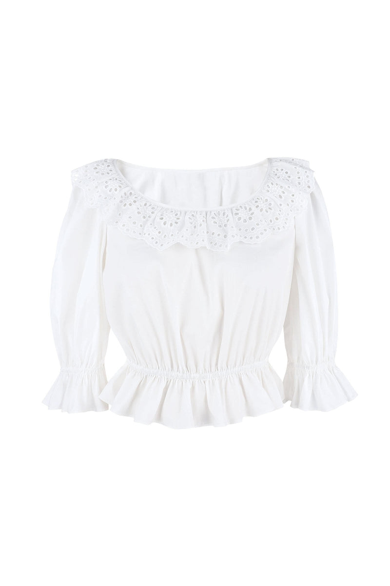 Ethel White Lace Collar Blouse