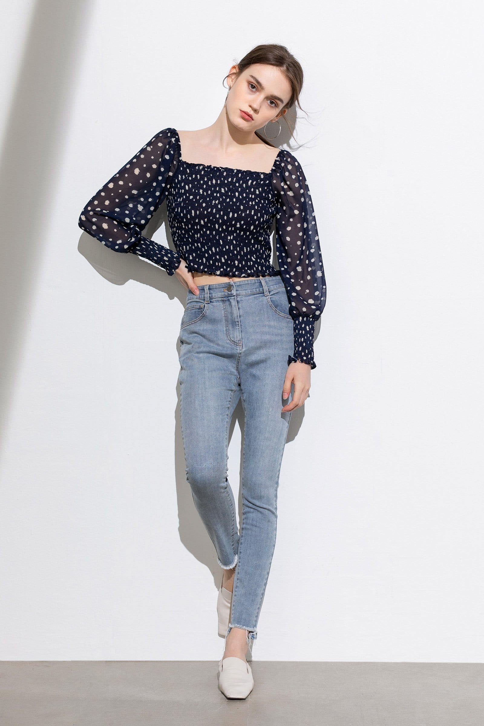 Marissa Dotted Puff Sleeve Top
