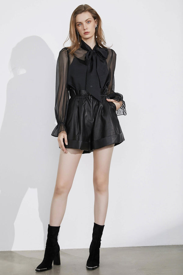 Althea Paperbag Leather Shorts
