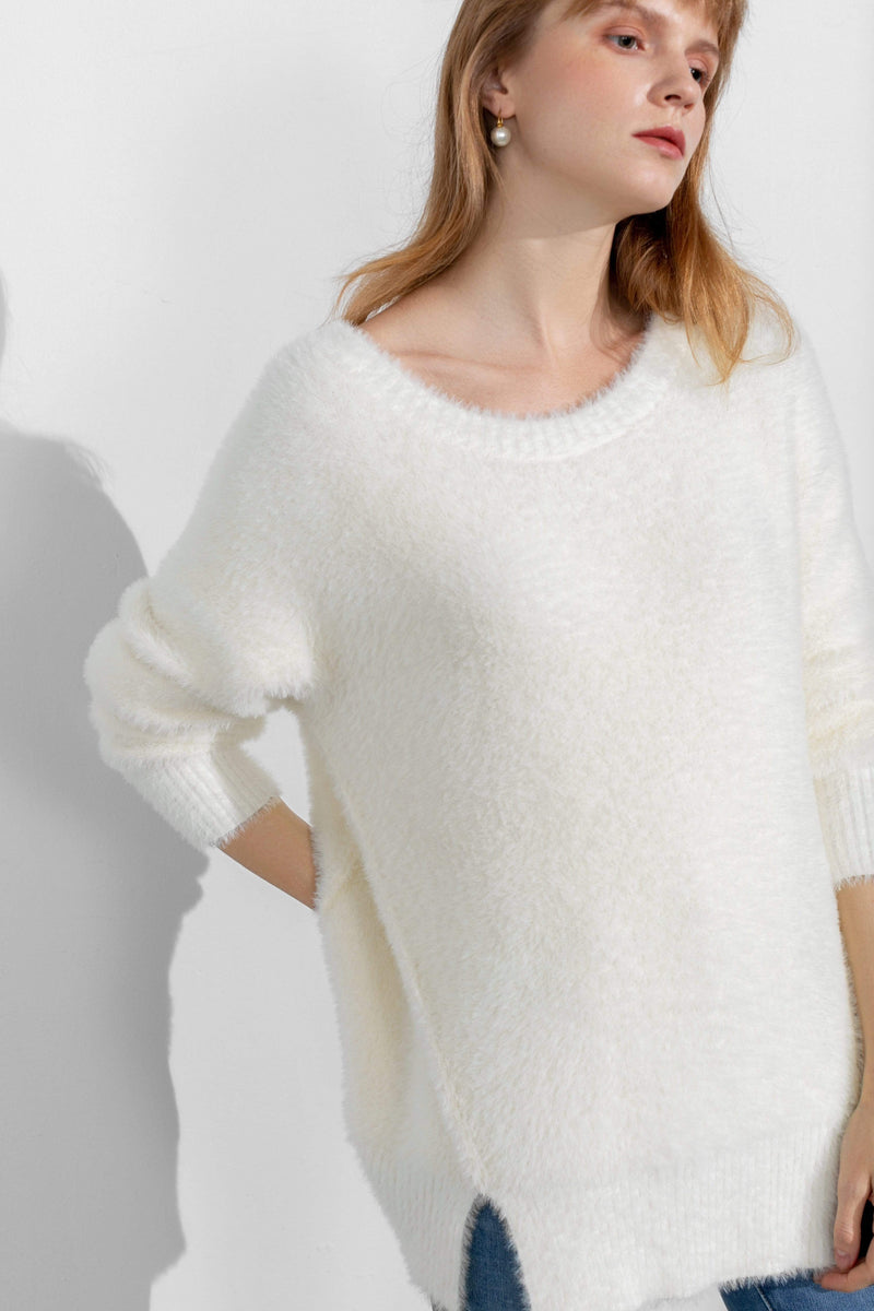 Cozy White Slit Hem Sweater
