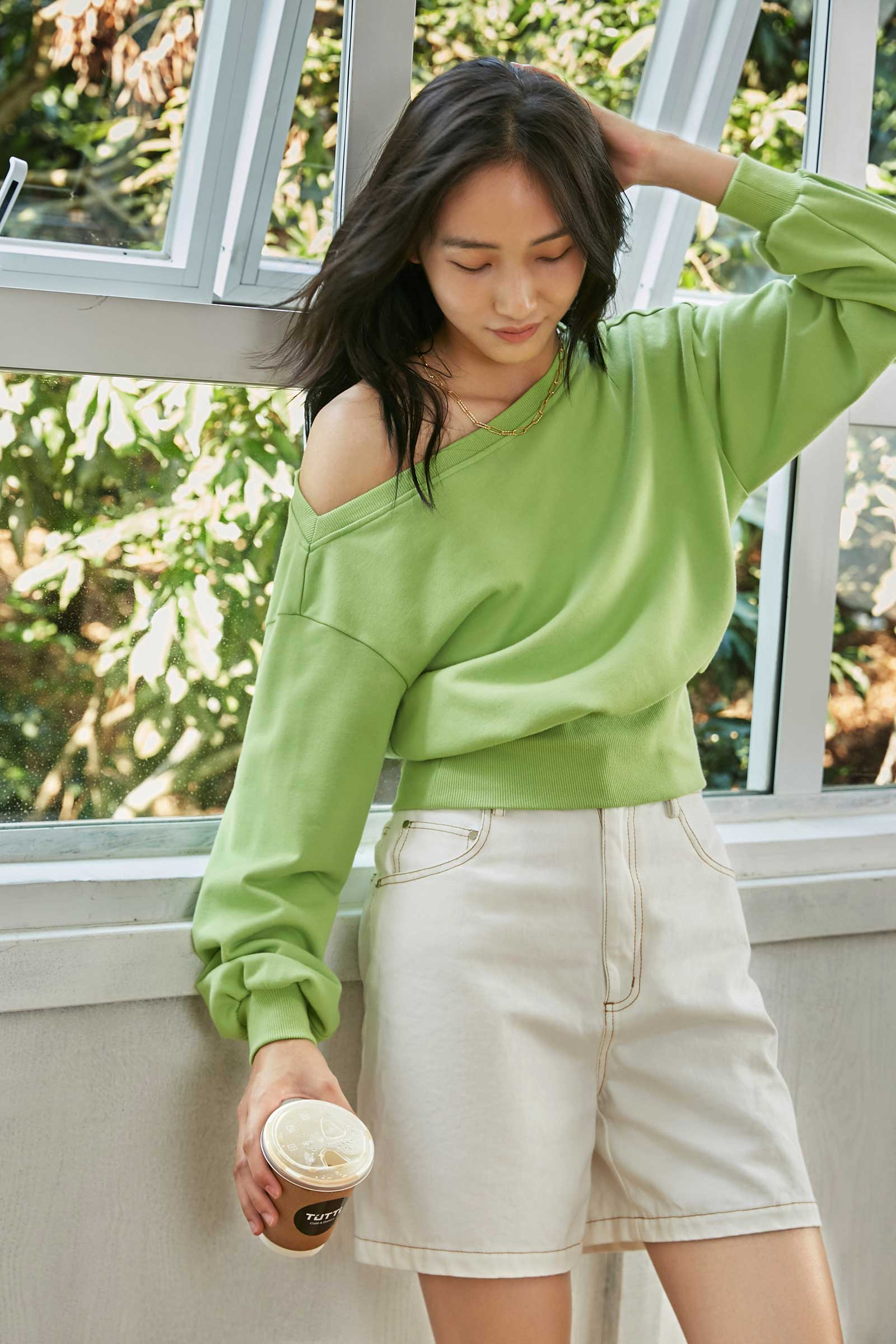 Selena Neon Green Wide Neck Crew Top