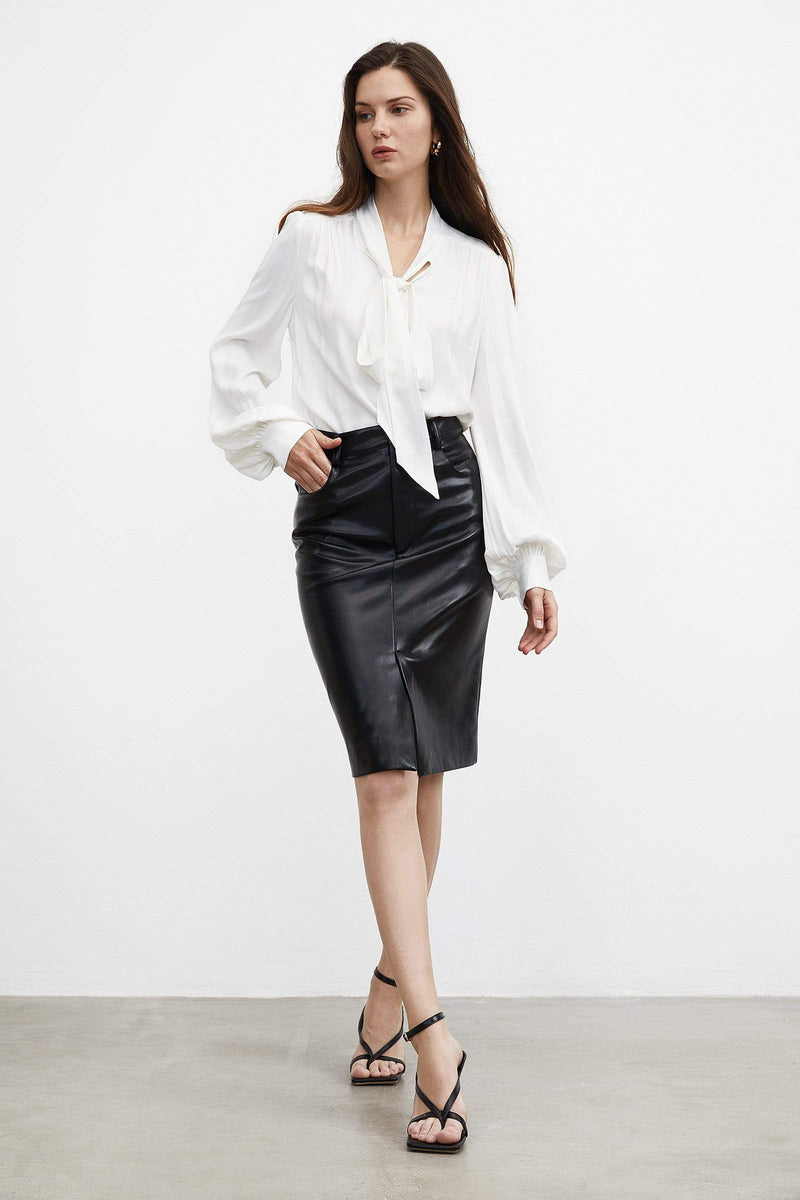 Sleek Black Midi Skirt