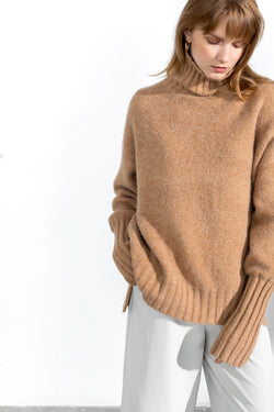 Toasted Wheat High Neck Sweater