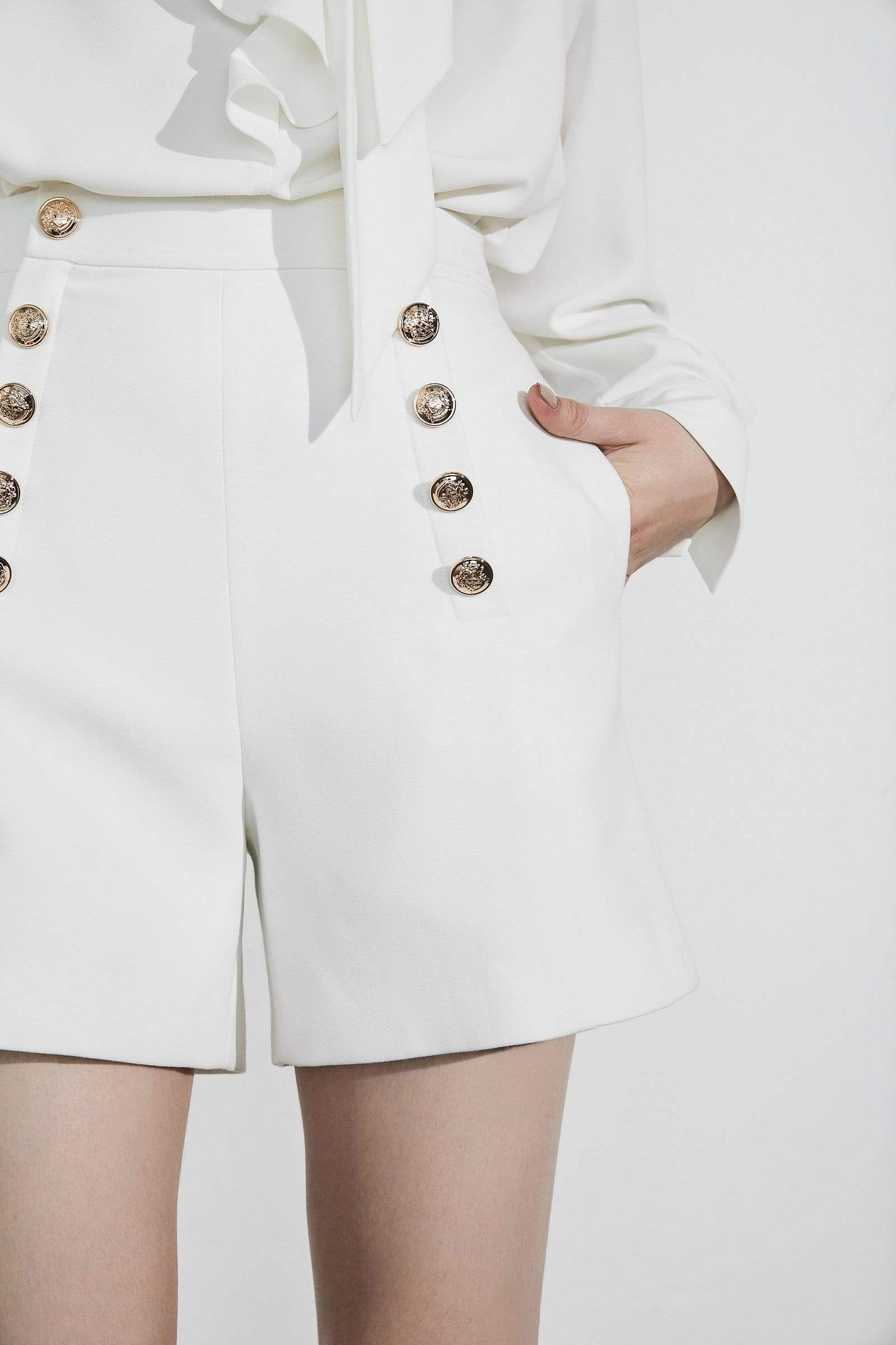 Essie White Button Shorts