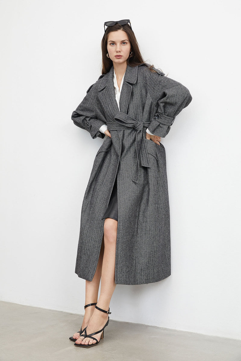 Nelsi Charcoal Oversized Trench